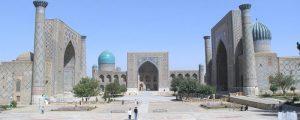 View of the Registan square in Samarkand, Uzbekistan
