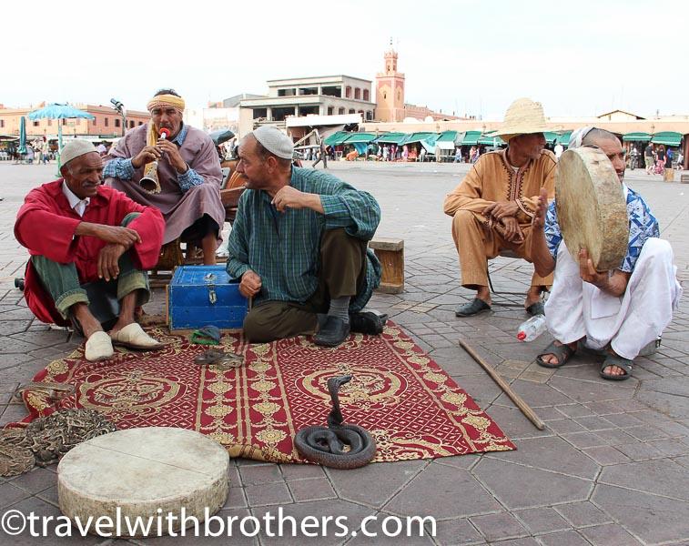 Marrakech, snake charmers in Jemaa el Fna square