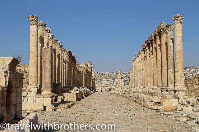 Intact Roman Columns in Jerash, Jordan