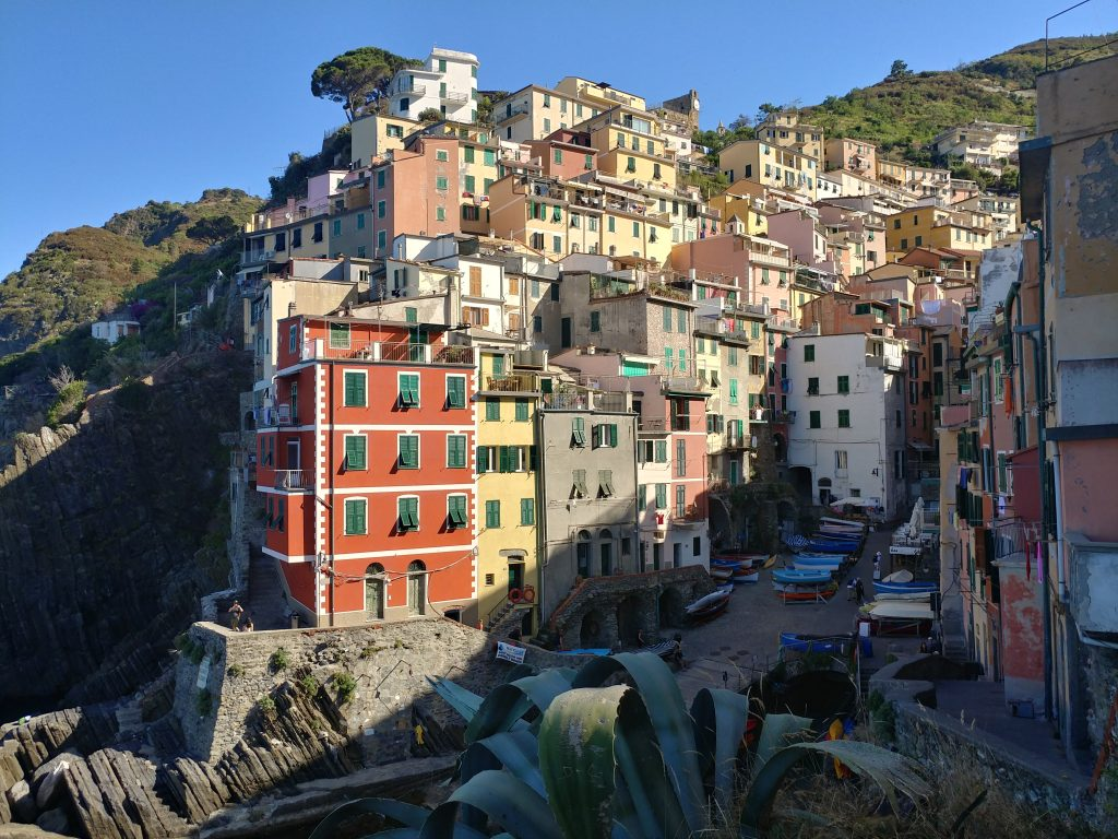Cinque Terre, Riomaggiore and its coloured houses perched on the slopes