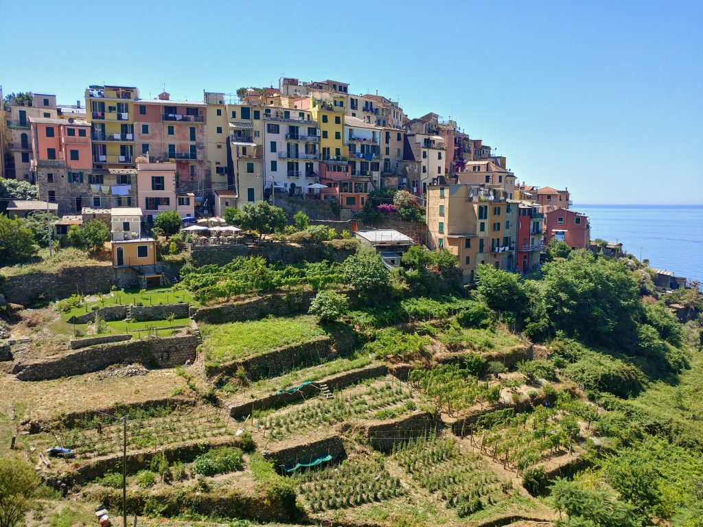Cinque Terre, Corniglia and its beautiful coloured'' tower-houses.''