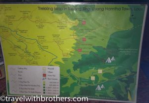 Trekking map, Nam Ha - Laos