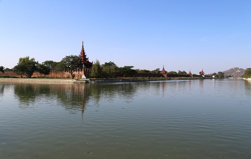 Mandalay, the moat and walls of the Royal Palace