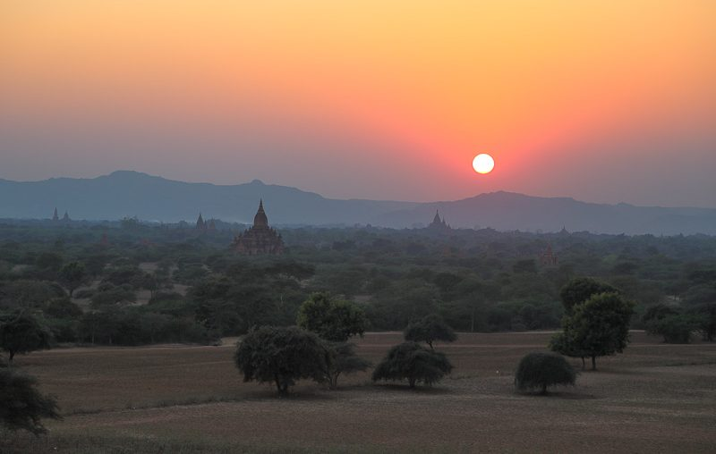 Bagan, sunset from the Shwesandaw Pagoda
