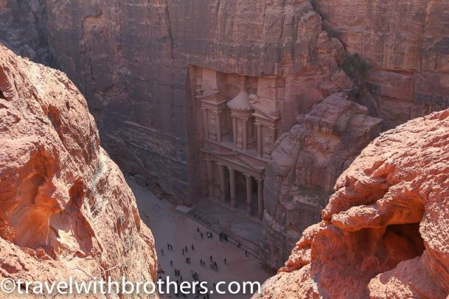 Petra, view of the Treasury on the Al Khubtha trail