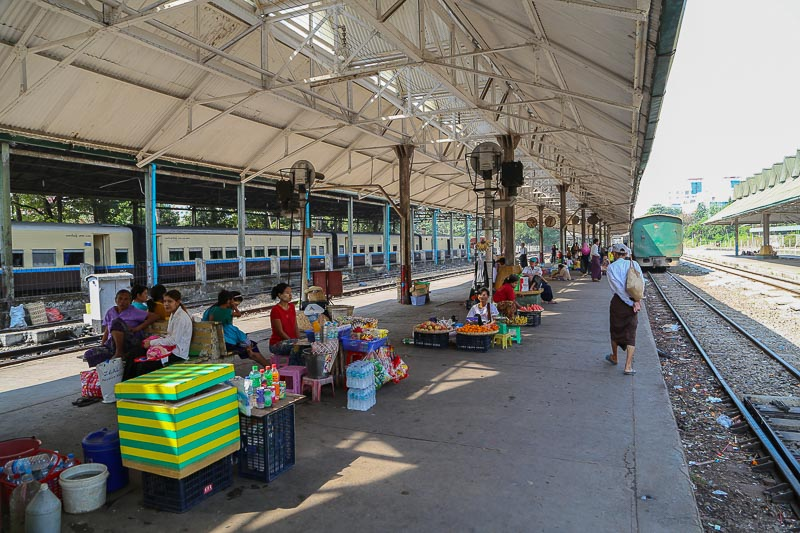 Yangon, vendors at the central Railways Station