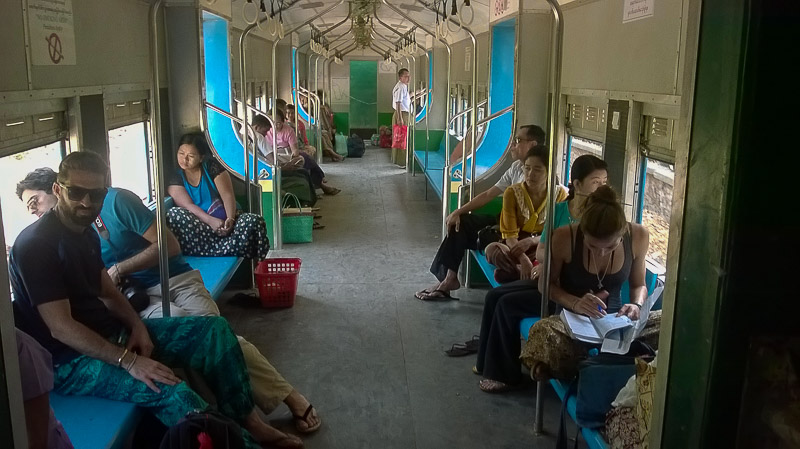 Yangon, inside the train's carriage