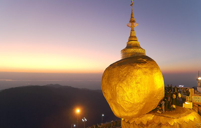 Myanmar, the Golden Rock at sunset