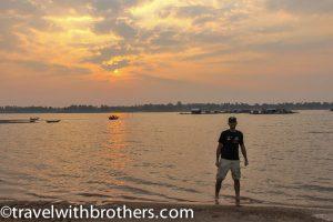 Sunset along the Mekong River near Kratie, Cambodia