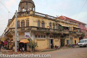 Colonial buildings in Kratie, Cambodia
