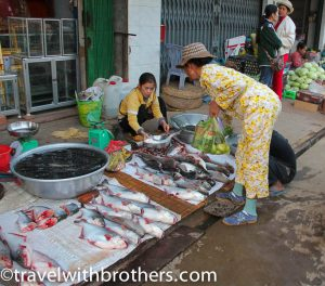 Fish vendor at Kratie market, Cambodia