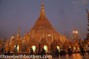 Yangon, the Shwedagon Pagoda at night