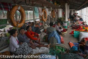 Myanmar, locals on the slow boat along the Irrawaddy River