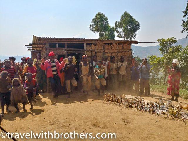 People dancing at Pygmy village, Uganda