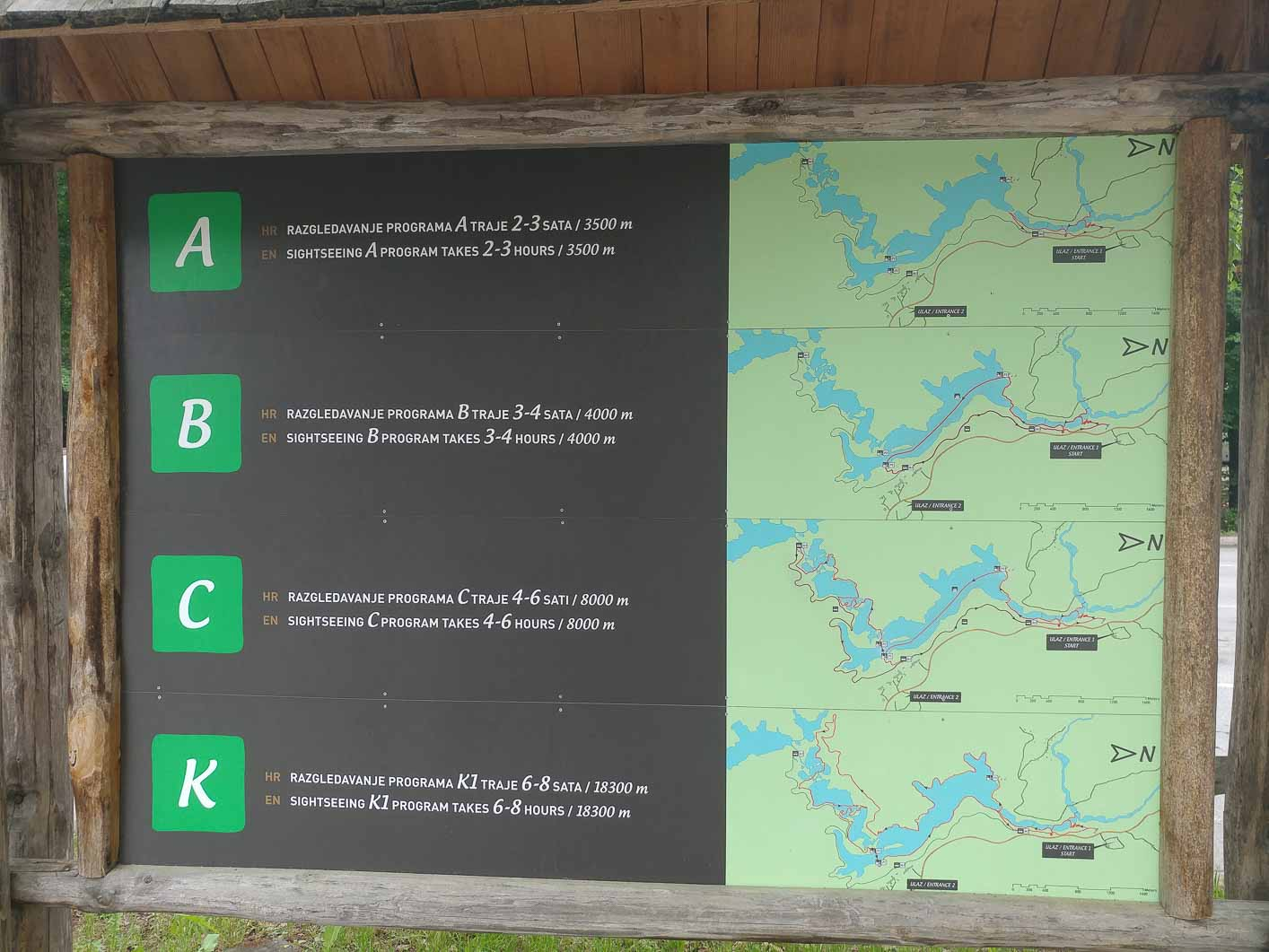 Plitvice lakes, trail programs from entrance 1