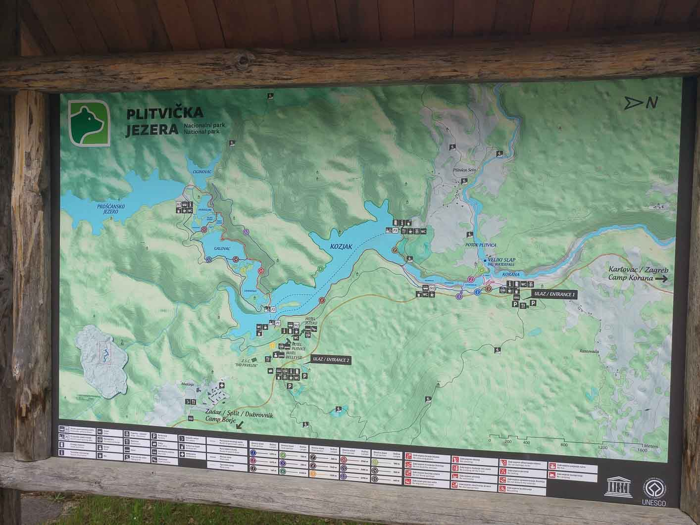 Plitvice lakes, general map of the park
