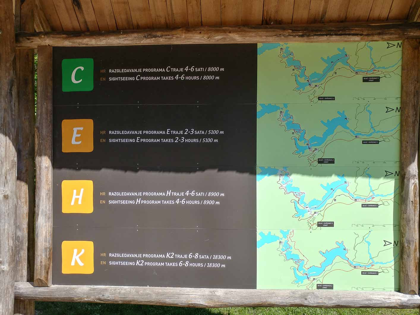 Plitvice lakes, trail programs from entrance 2