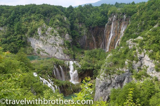 Plitvice lakes, view on the big waterfall