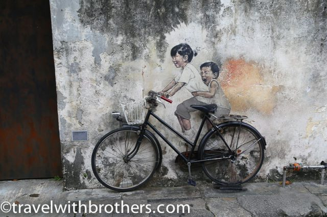 Malaysia, George Town mural artwork -Kids on the bicycle