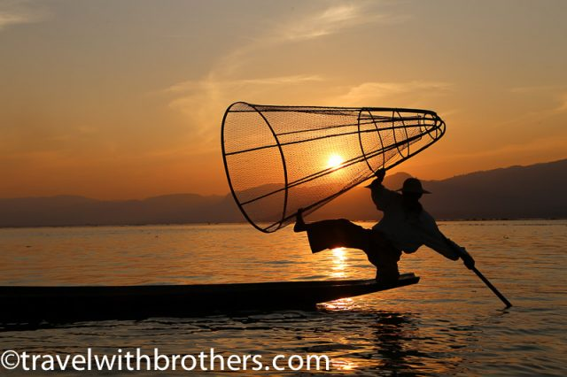 Colourful sunset on Inle Lake