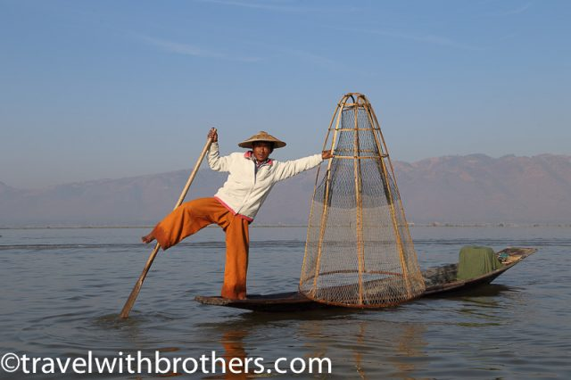 Inle Lake, Intha fisherman with the typical fishing net