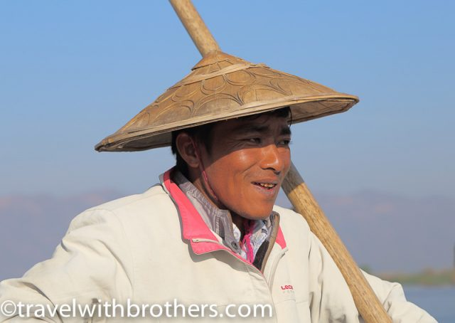 Inle Lake, the typical Intha fishermen conic hat
