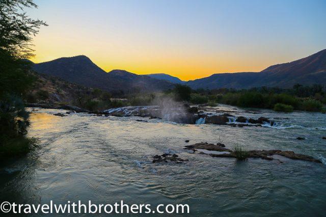 Namibia, Kunene region, sunset from the Epupa falls campsite restaurant terrace