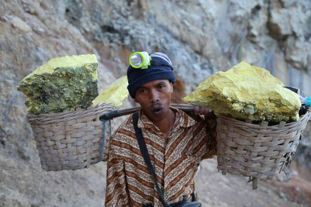 Sulfur miners at Ijen volcano, Java