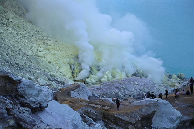 Sulfur gases inside the crater, Ijen Volcano