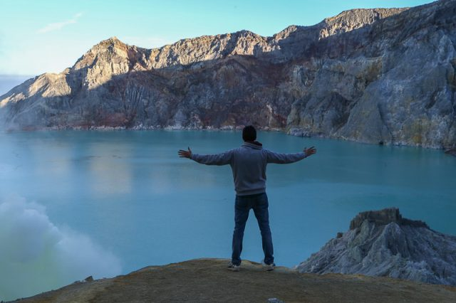 Stunning view of the lake at dawn, Ijen Volcano