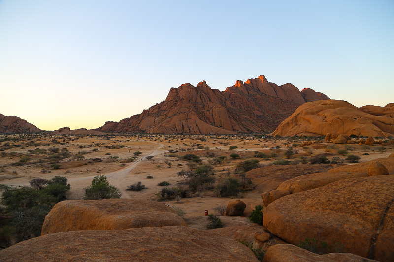 Namibia, a stunning sunset at Spitzkoppe