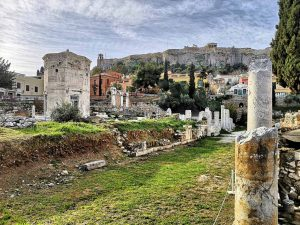 Athens, beautiful view on Roman agorà and acropolis