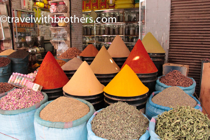 Marrakech, the colourful spices in the Mellah souk