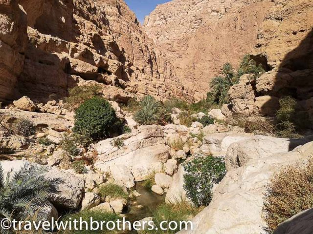 the rocky path in the Wadi Shab, Oman