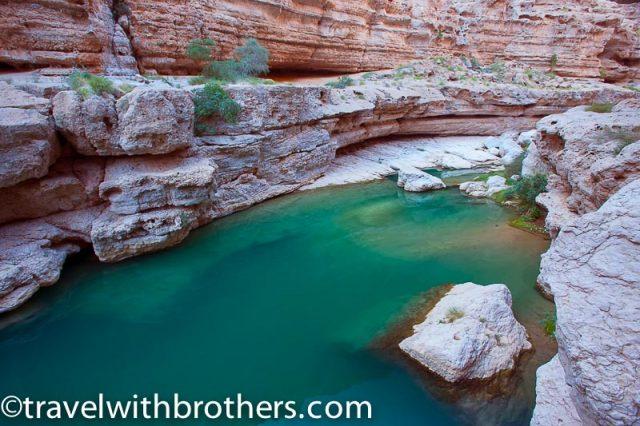 The emerald water of Wadi Shab, Oman
