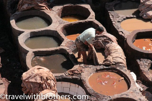 Fes, worker in the dyeing tanks