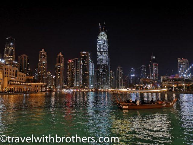 Dubai, wooden Abra boat on the Burj lake