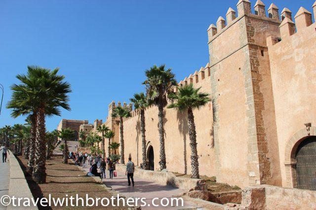 Rabat, the imposing walls of the Kasbah and Bab Oudaya gate