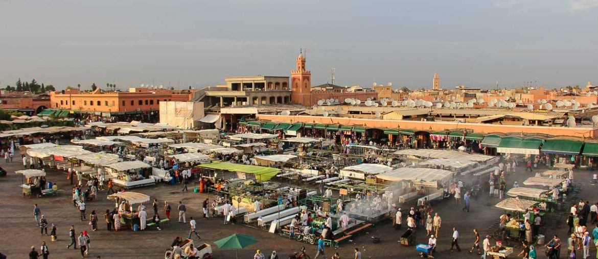 Marrakech, Jemaa el Fna square at sunset