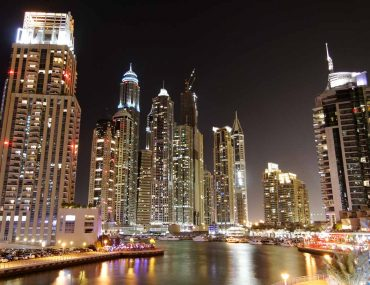 UAE, Dubai Marina night view