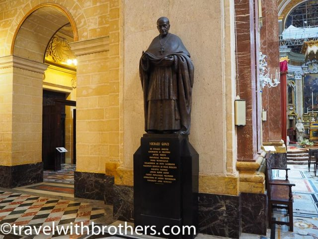 Mdina,bronze statue dedicated to Archbishop Michael Gonzi - St Paul Cathedral