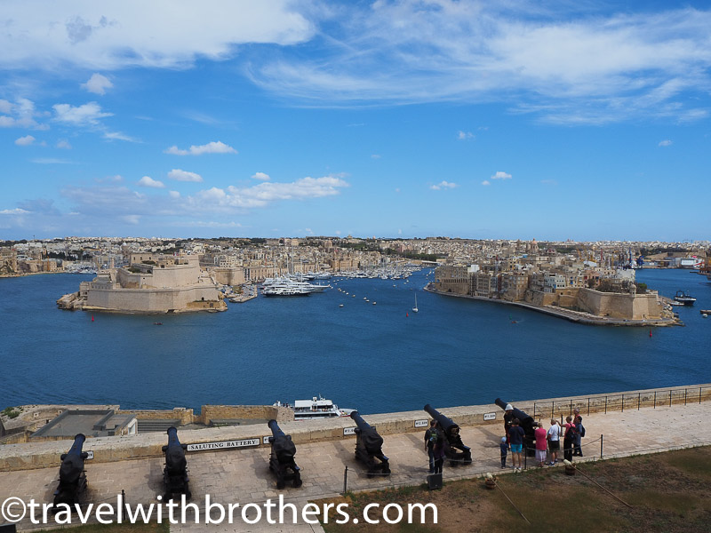 Valletta, the view from the Upper Barrakka gardens and the saluting battery