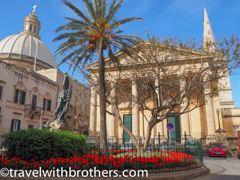 Valletta, St Paul's Pro-Cathedral and the dome of Our Lady of Mount Carmel church