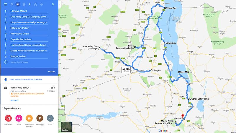 Malawi - Zambia itinerary