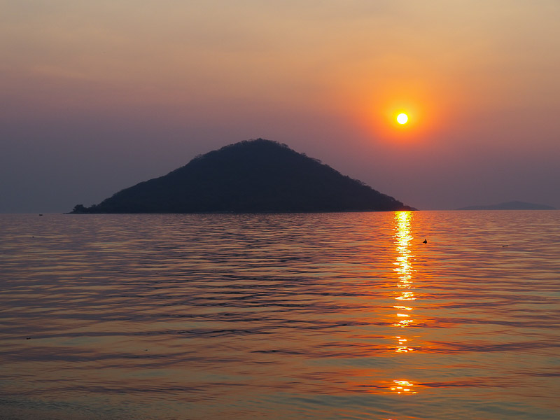 the stunning sunset in Cape Maclear, Lake malawi