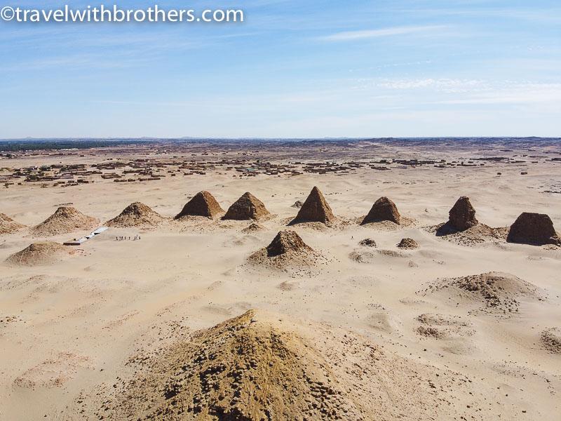 Sudan, bird's eye view of the Nuri Necropolis