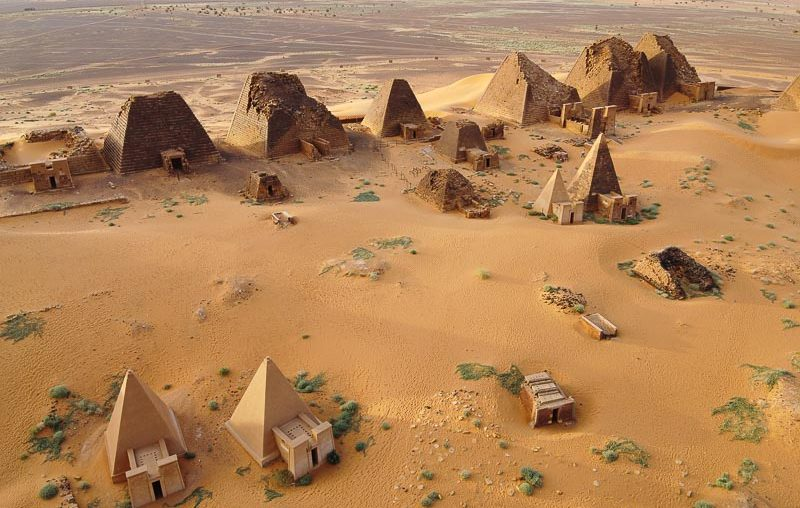 Sudan, skyview of the north cemetery of Meroe