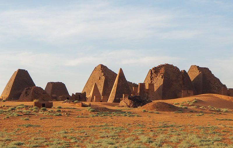 Sudan, view of the Meroe Royal Necropolis